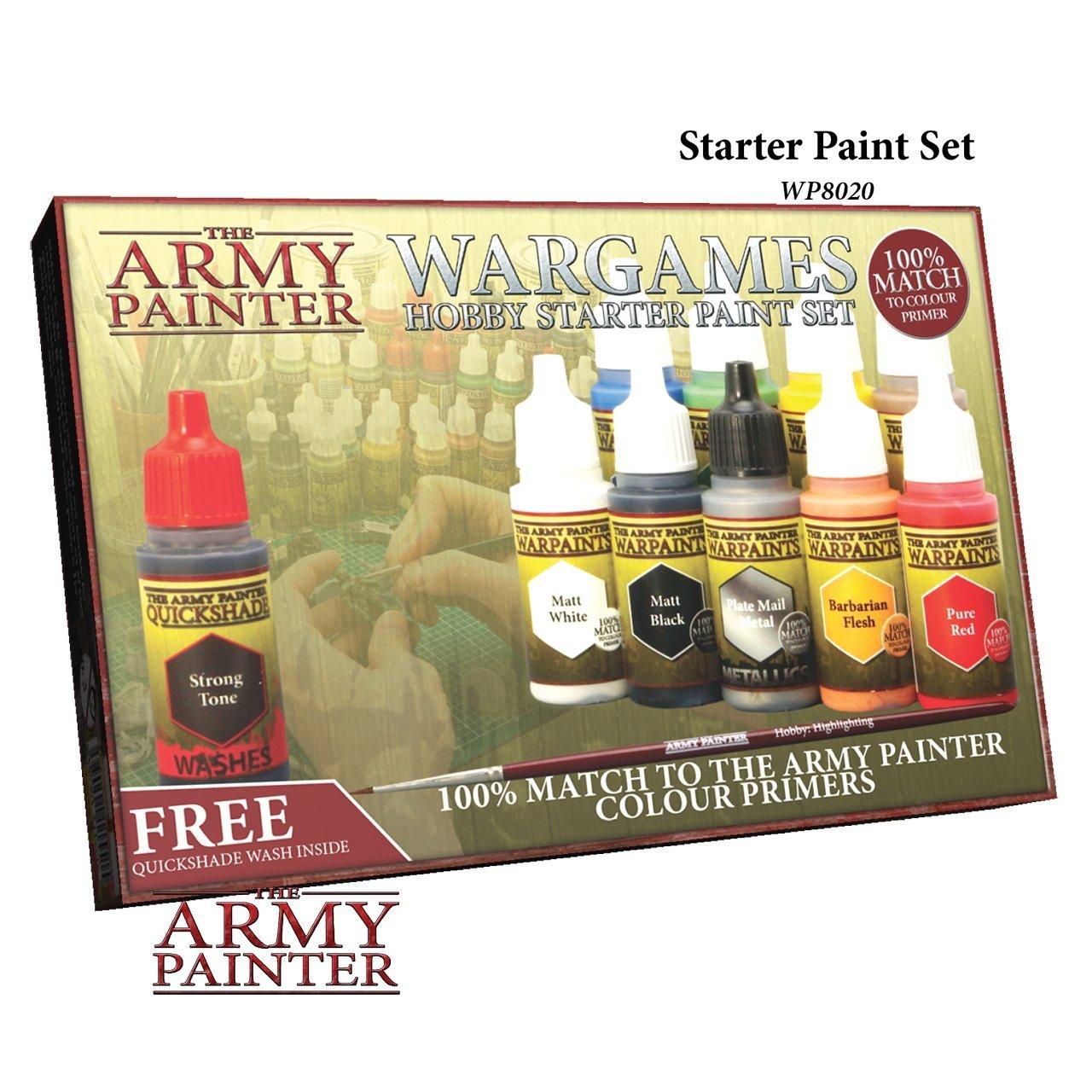 The Army Painter Wargames ホビースターターペイントセット ミニチュアペイントセット 10本 模型用ペイント ハイライトブラシ付き 18ml/ボトル ミニチュア用ペイントキット 非毒性アクリルペイントセット   B01MTXRU2L