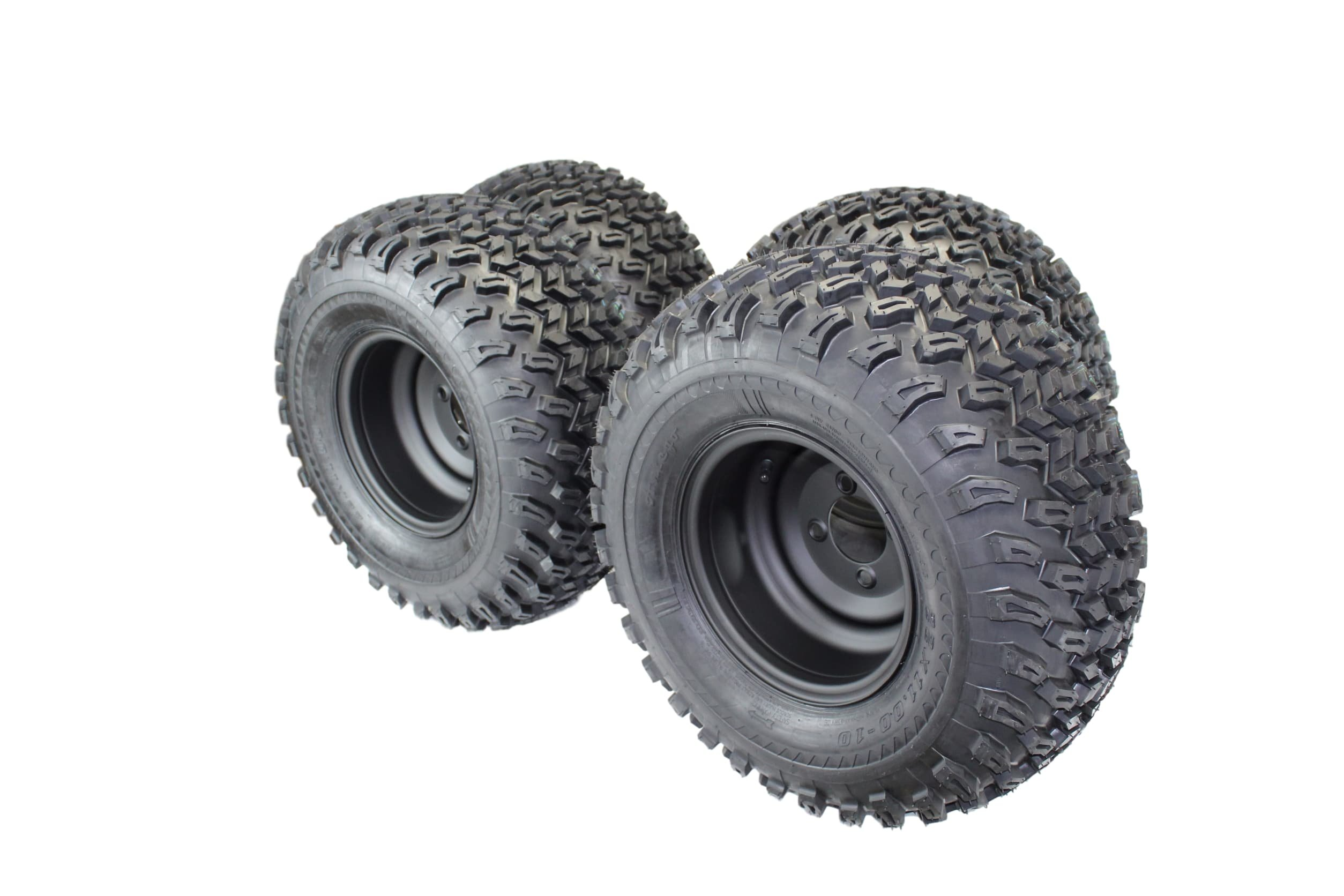 22x11.00-10 with 10x7 Matte Black Wheels for Golf Cart (Set of 4)
