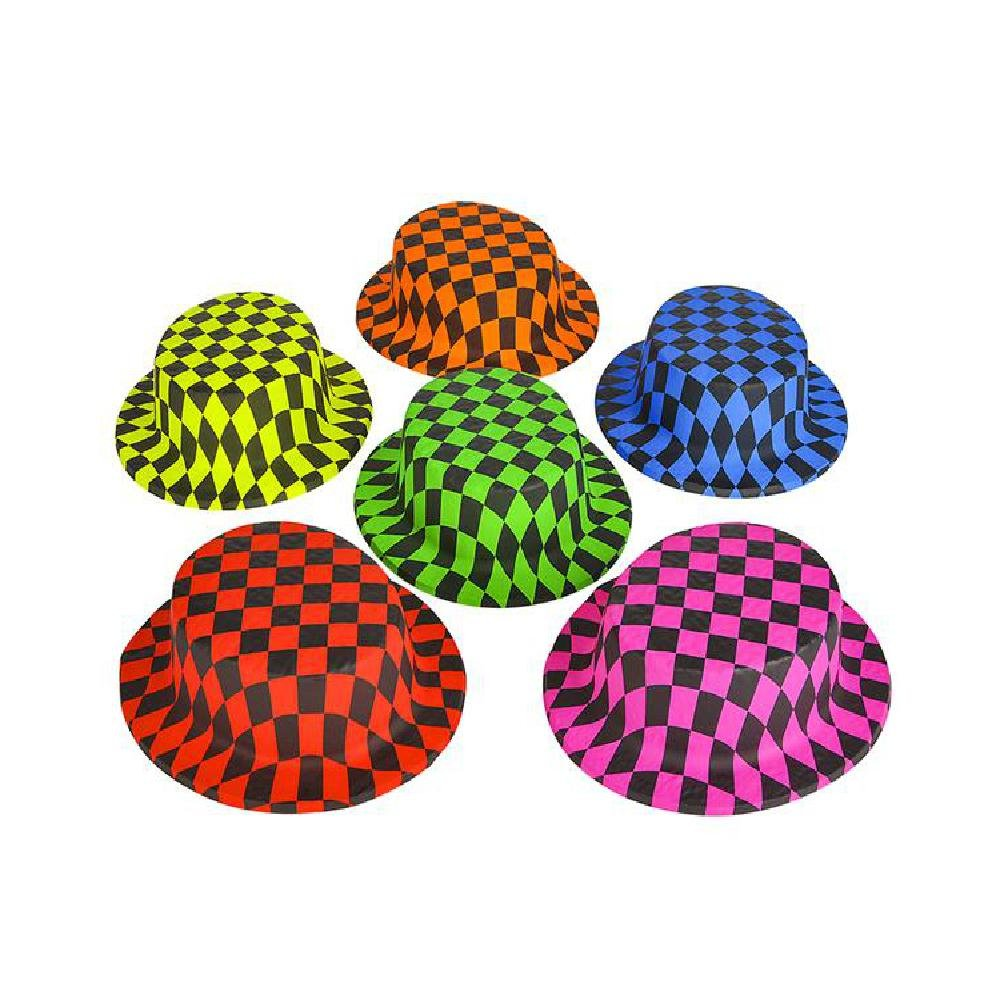 Neon Checker Party Hat by Bargain World