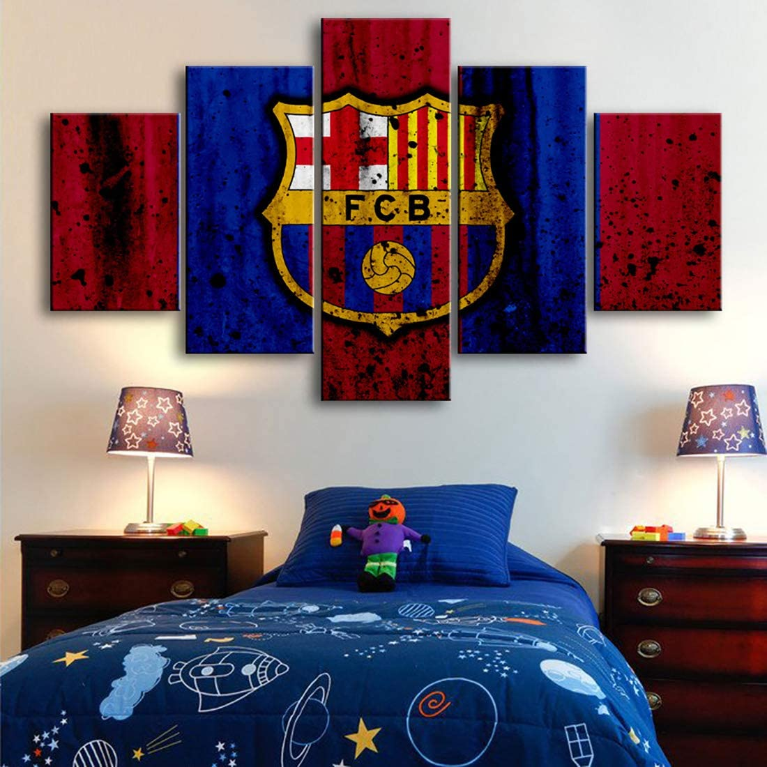 HSART Home Wall Art HD Football Club 5 Pieces Canvas Paintings Large Barcelona Flag Posters Prints Pictures Boys Bedroom Decor,A,30x40x2+30x80x1+30x60x2