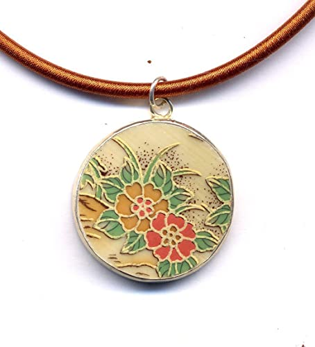 Pastel and gold ethnic style of cold porcelain pendant necklace