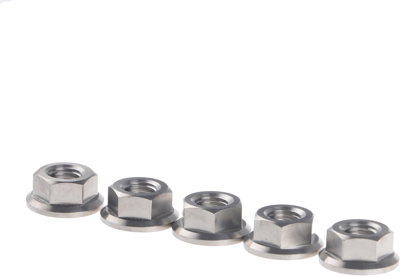 Normal Titanium Wanyifa DIN6923 Titanium M8 Pitch 1.25mm TC4 Hex Head Flange Nut Pack of 5