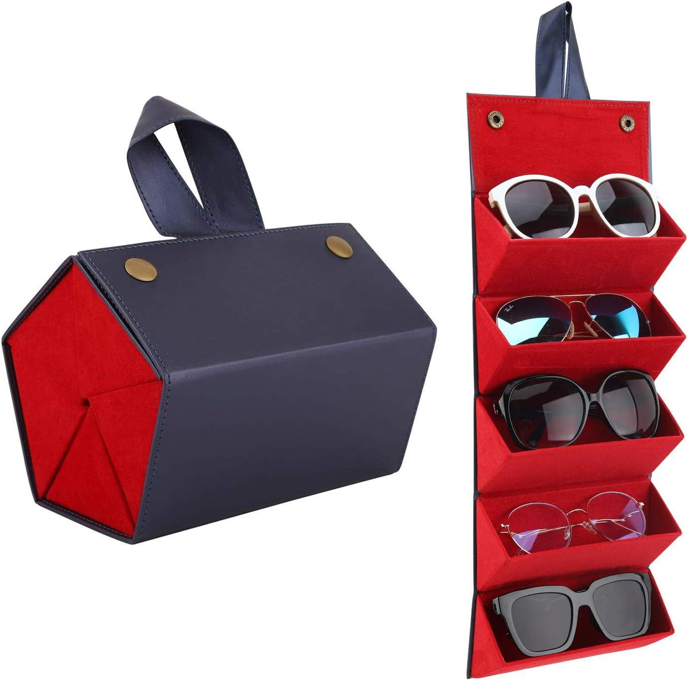MoKo Estuche de Gafa para almacenar 5 anteojos, Gafas de Sol Presentación Gafas Pantalla, Organizador Portátil Caja de Cuero para Gafas Estuche para Guardar para Hombre y Mujer