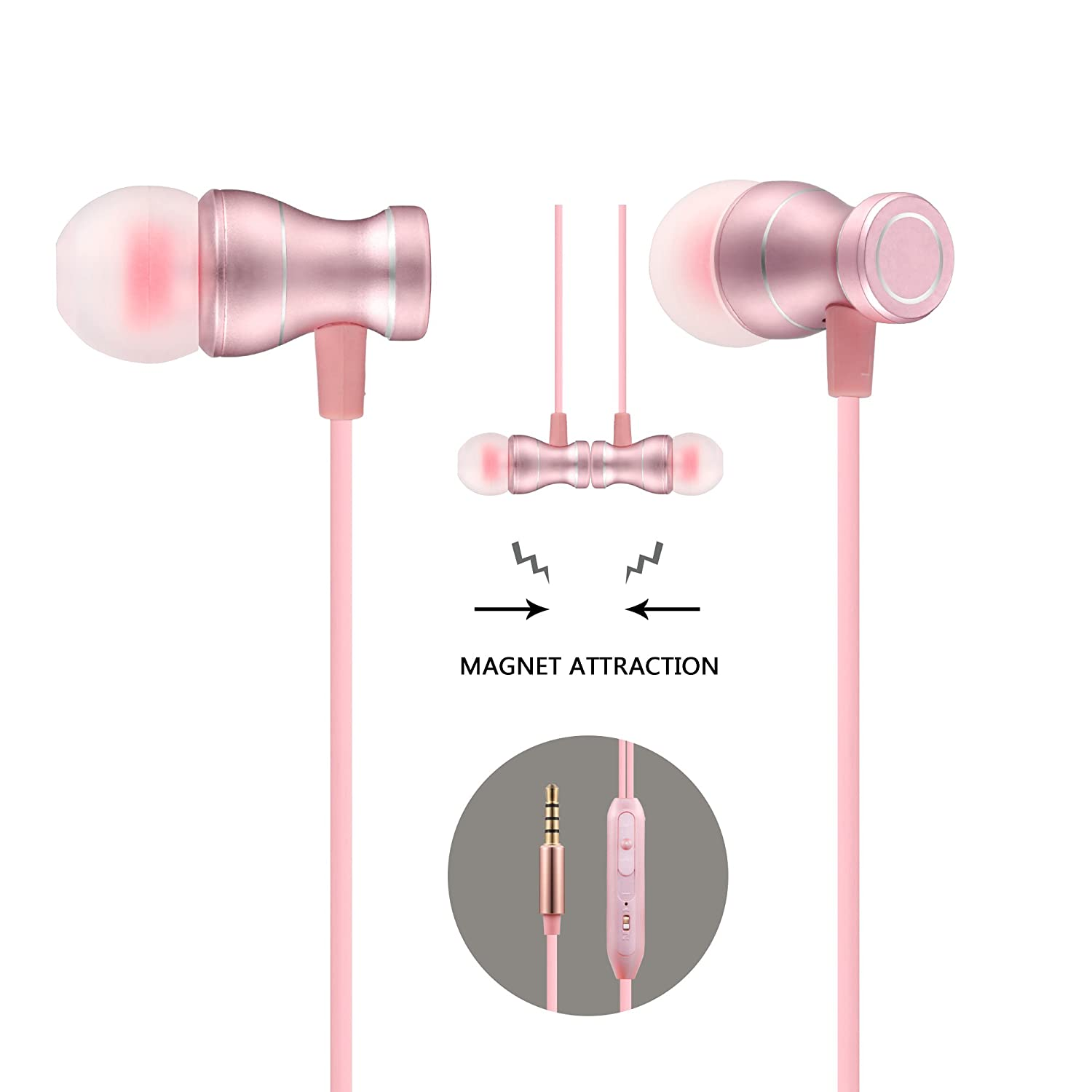 Acode In Ear Earbuds Earphones Headphones, 3.5mm Metal Housing Magnetic Best Wired Bass Stereo Headset Built In Mic/Hands Free/Volume Control+Carrying Case+3 Pair Earbuds (Rose Gold) by Acode