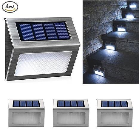 CTKcom 4 Pack Garden Lights LED Solar Step Lights,Outdoor Stair Lights,3