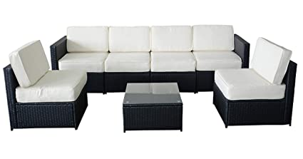 MCombo 6085 S1007 7 Piece Wicker Patio Sectional Indoor Outdoor Sofa Furniture  Set, Black