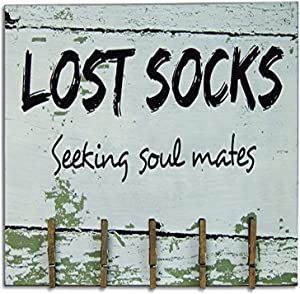 "CWI Gifts 8""x14"" Lost Socks Wooden Sign with Clothespin Clips, 8"" x 14"""