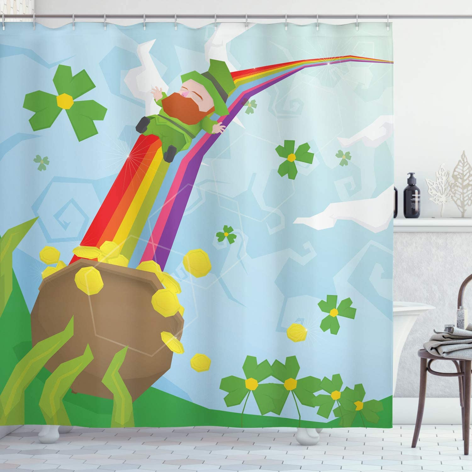 "Patrick/'s Day Light Spot Waterproof Fabric Shower Curtain Bathroom Mat 72/"" St"