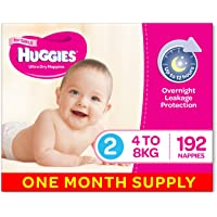 Huggies Ultra Dry Nappies, Girls, Size 2 Infant (4-8kg), 192 Count, One-Month Supply, Packaging May Vary