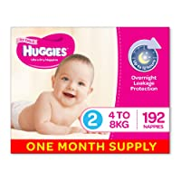 Huggies Ultra Dry Nappies, Girls, Size 2 Infant (4-8kg), 192 Count, One-Month Supply