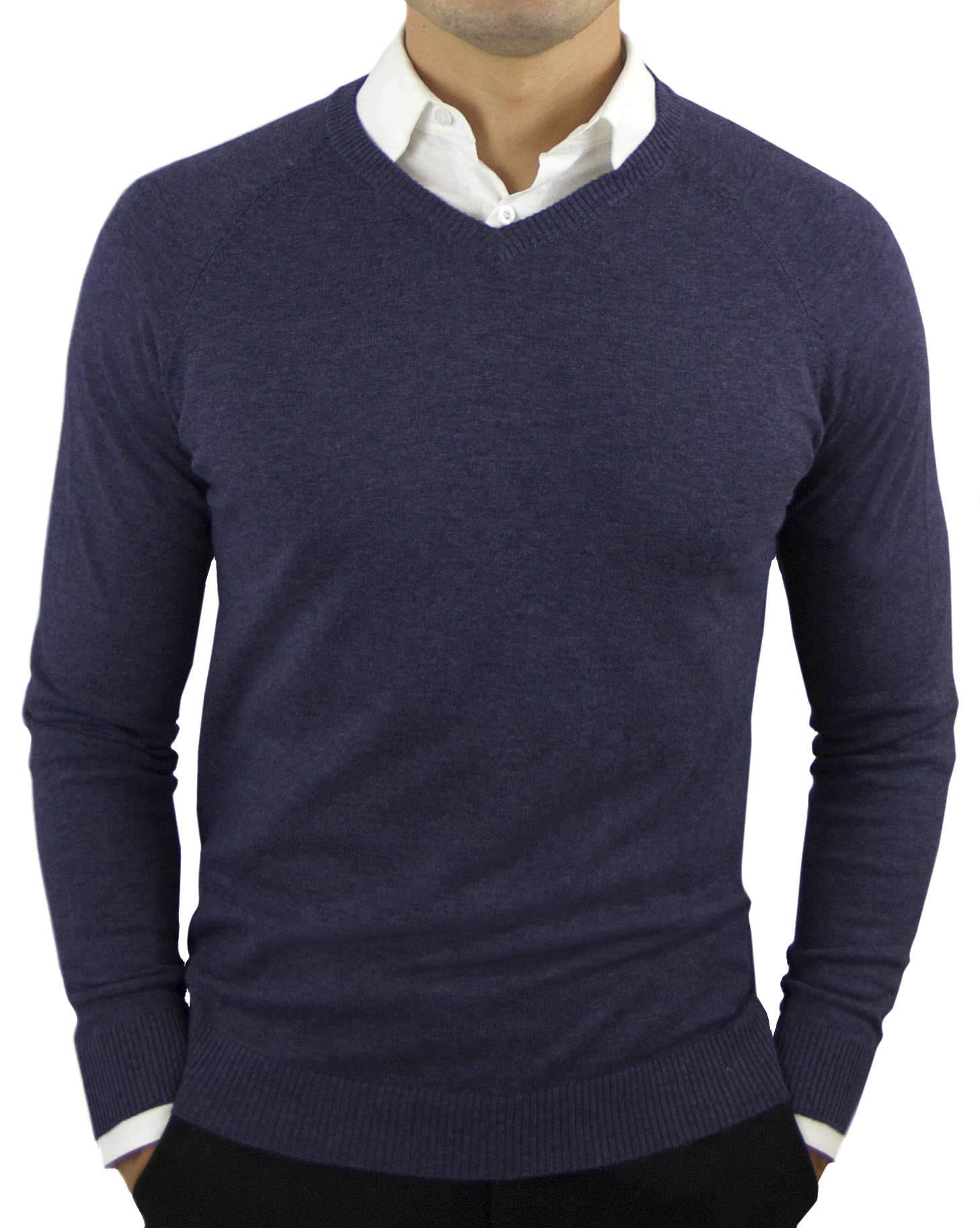 Comfortably Collared Men's Perfect Slim Fit Lightweight Soft Fitted V-Neck Pullover Sweater, Medium, Navy Blue