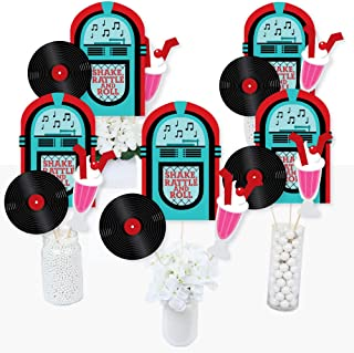 product image for 50's Sock Hop - 1950s Rock N Roll Party Centerpiece Sticks - Table Toppers - Set of 15