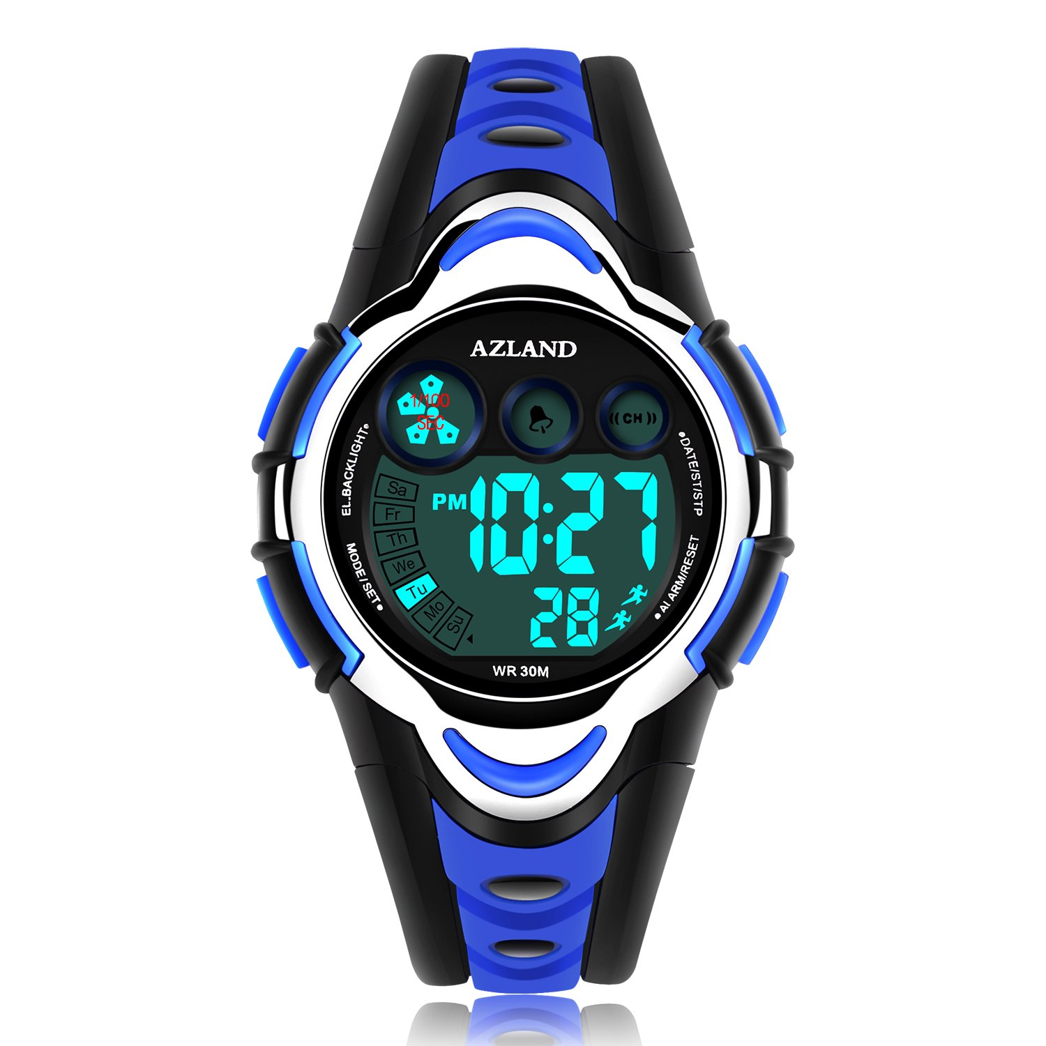 AZLAND Waterproof Swimming Led Digital Sports Watches for Children Kids Girls Boys,Rubber Strap,Blue by AZLAND (Image #1)