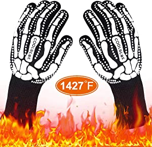 COOLBEBE Black Skeleton BBQ Grill Gloves, Unisex Cooking Oven Barbecue Gloves Kitchen Mitts with Skull Pattern - 1472°F Extreme Heat Resistant, Durable & Light Weight - 1 Pair