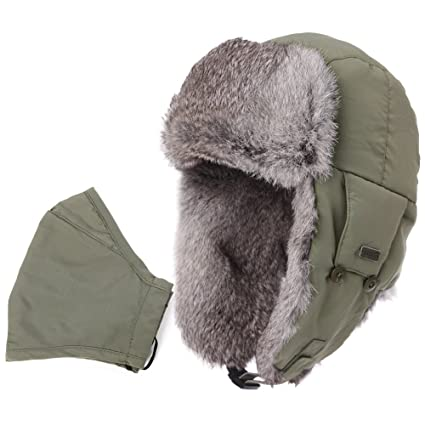 Mens Womens Rabbit Fur Winter Hunting Waterproof Bomber Trapper Flaps Cap Ushanka  Russian Hat 24 quot  17e69fdfbea2
