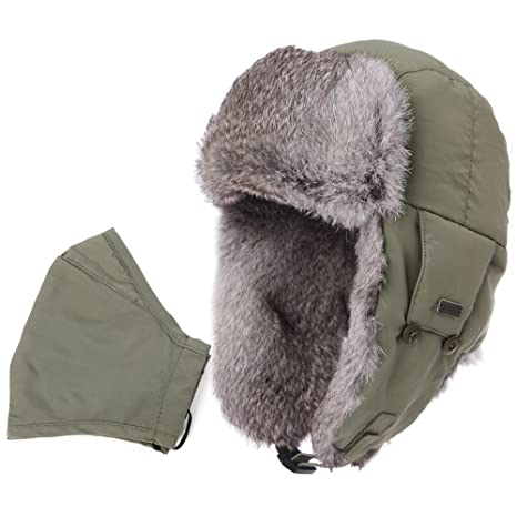 4740a5f307d Mens Womens Rabbit Fur Winter Hunting Waterproof Bomber Trapper Flaps Cap  Ushanka Russian Hat 24 quot