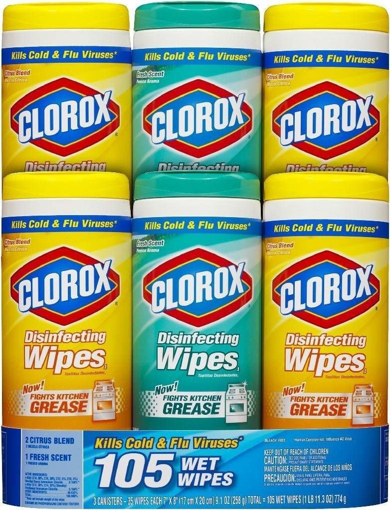 Clorox Company Disinfecting Wipes, 3-Pack, White (Units per case: 2)