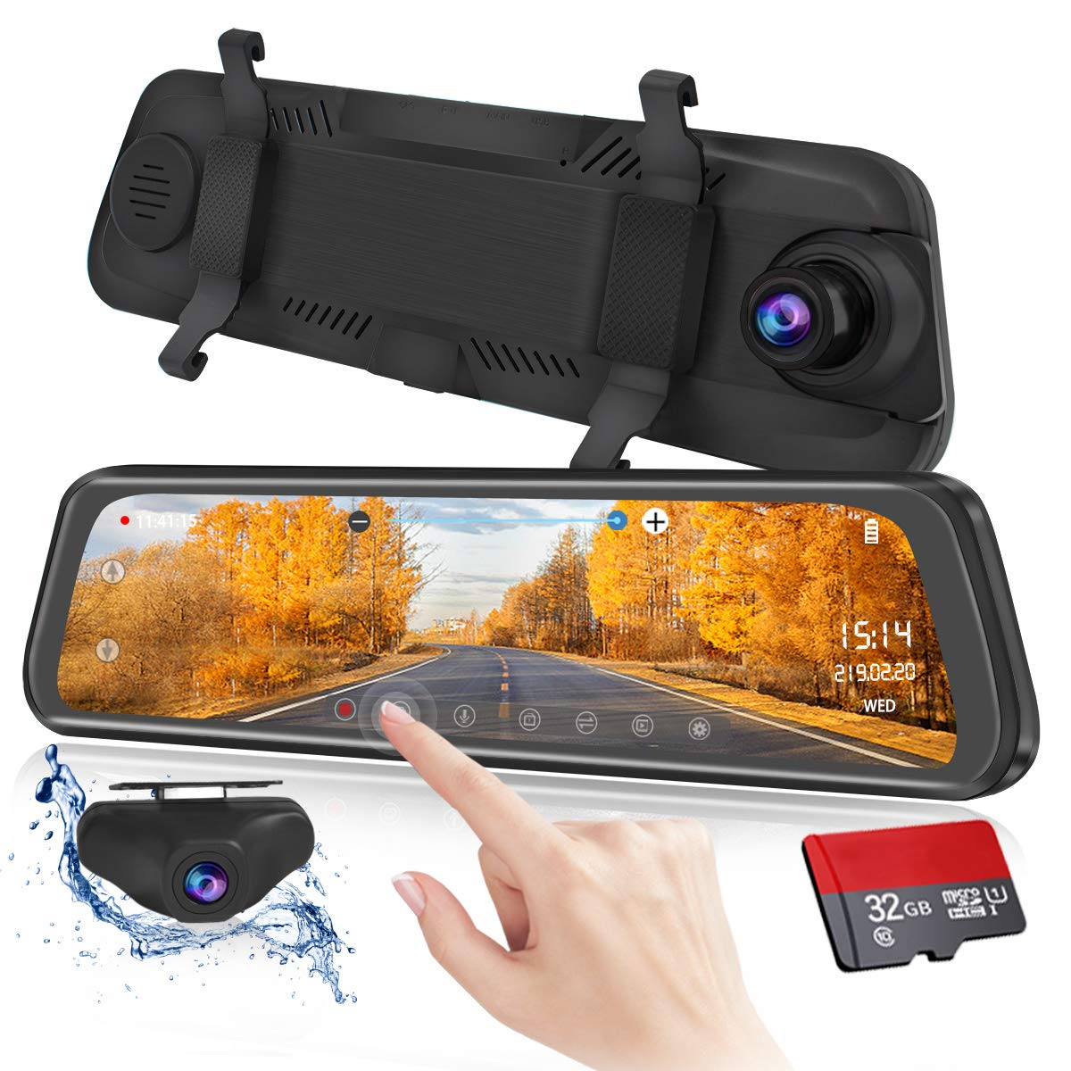 Mirror Dash Cam 9.88 inch Full Touch Screen Car Backup Camera Dual Recording HD Front 1080P 170° Wide Angle 1080P Rear View Camera 150° URVOLAX Night Vision,24-Hour Parking,GPS, SD Card by URVOLAX