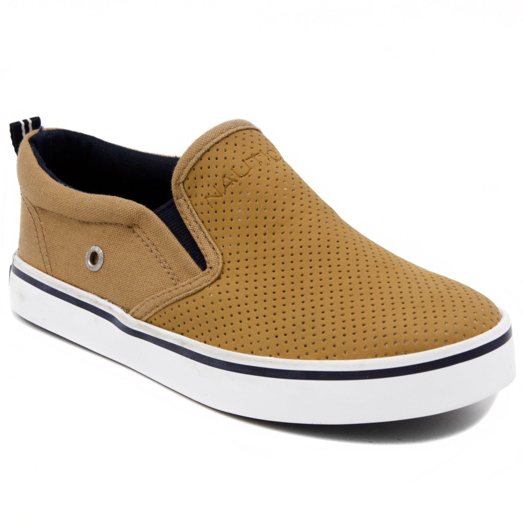 Nautica Kid's Akeley Perf Slip-On Casual Shoe Canvas Sneaker-Tan Perf-5