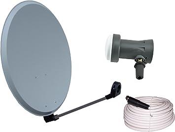 Vistron – Antena parabólica y 45 cm Con Sharp LNB 20 m Cable coaxial y 4 conector