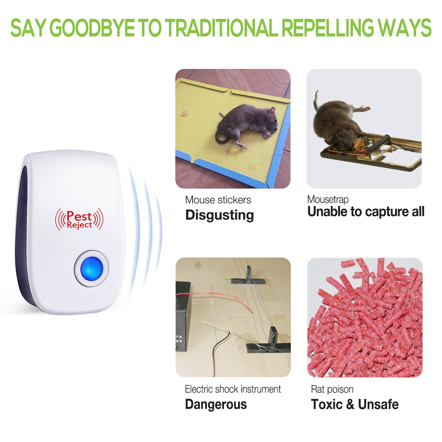 2018 Upgraded Pest Control Ultrasonic Repeller Electronic Mouse Trap Repellent Plug In Warrior Bug For Miceratbugspiderroachfly