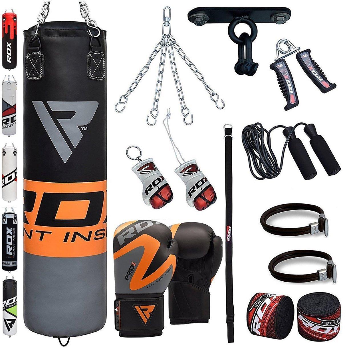RDX Saco de Boxeo Relleno MMA Muay Thai Kick Boxing Artes Marciales Con Soporte Techo Guantes Cadena 13 PC 4FT 5FT Punching Bag ADIL0|#adidas