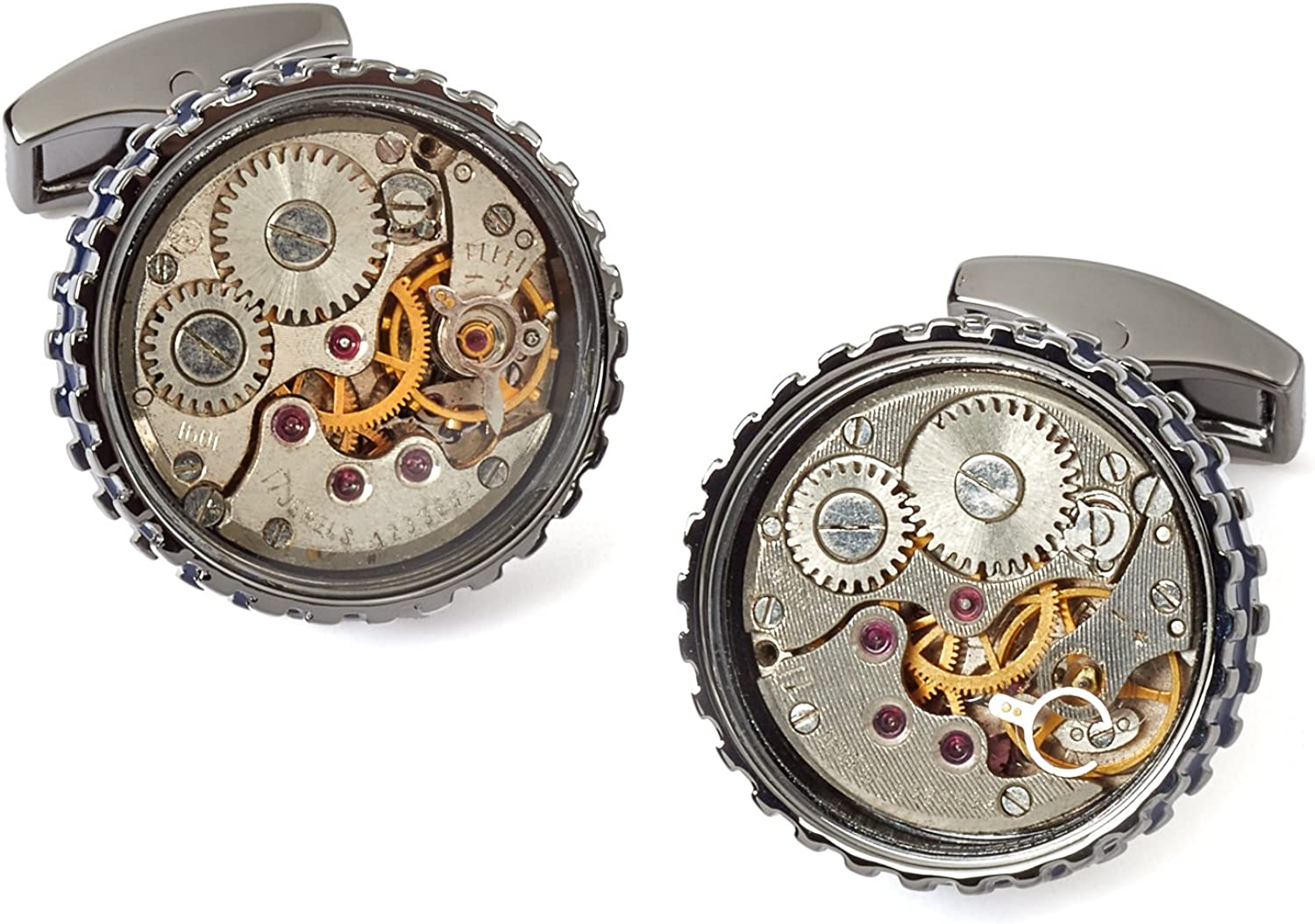Tateossian Mechanical Skeleton Gear Round-RT Cufflinks