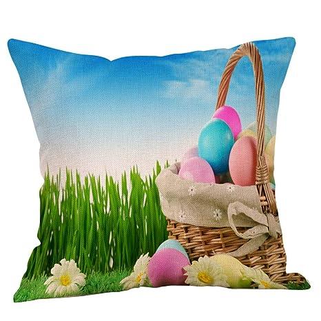 BBestseller Fundas de cojín de Lino Pascua,Super Suave Colorear Huevo Imprimiendo Cojines Sofa Almohadas IKEA Decorativo (L)