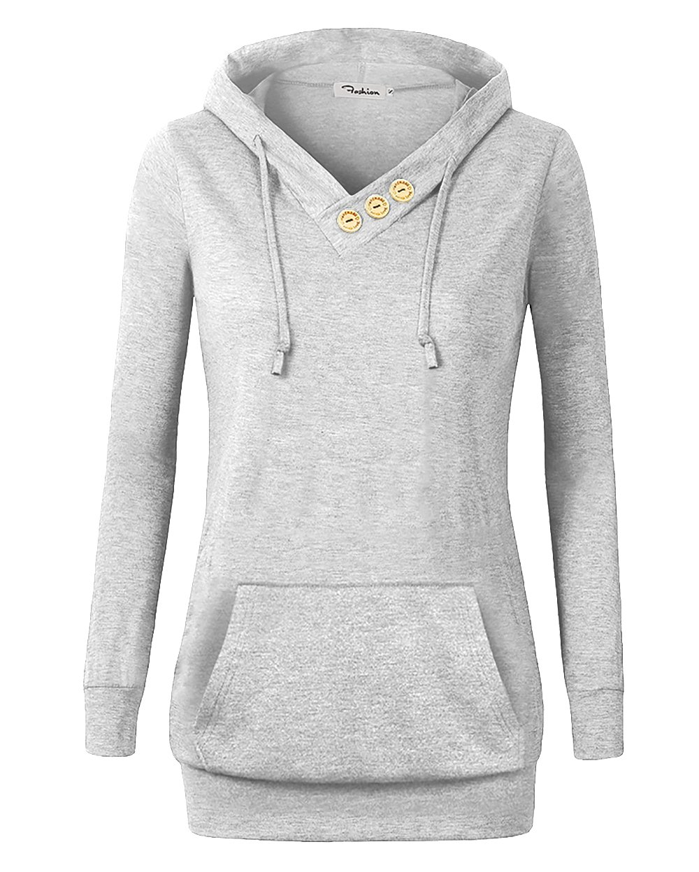 VOIANLIMO Women's Sweatshirts Long Sleeve Button V-Neck Pockets Pullover Hoodies Silver 3XL
