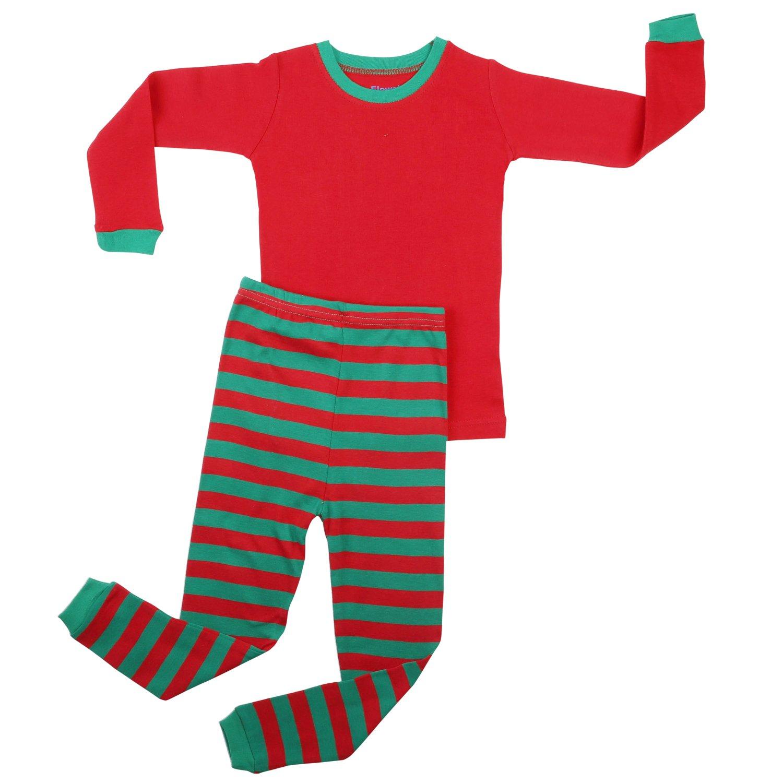 新品同様 Elowel ボーイズ Green ガールズ B076GS5W6N クリスマス ストライプ 2点セット キッズ Top パジャマ 綿100% 6M-12Y 5 Red Top & Red Green Pants B076GS5W6N, 安い購入:9240f873 --- agiven.com
