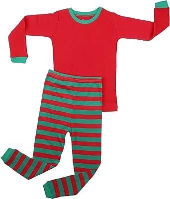 elowel | Pijama Unisexo | 2 Piezas (Top Y Pantalones) | Tamanos Disponibles: 6m, 12-18m 18-24 Meses, 2-14 Anos | 100% Algodon | Diseno Múltiple Y Seleccion De Colores | Ropa De Dormir Ajustada