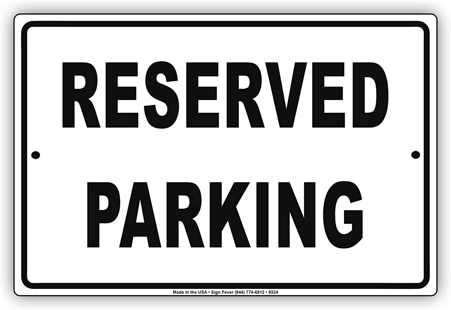 Reserved Parking Black Letters Restricted Spot No Parking Warning Caution Notice Aluminum Metal Tin 8x12 Sign Plate