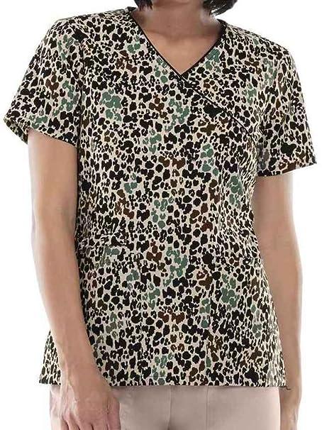 cb14a5151a6 Amazon.com: Cherokee Women's Mock Wrap Heart Print Scrub Top: Clothing