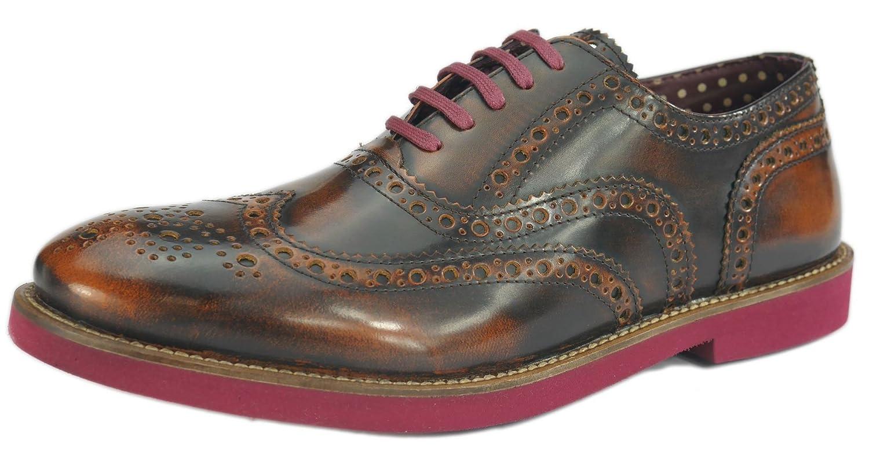 London Brogues Farnham Tan/Bordo Mens Leather Brogue Shoes, Size 13