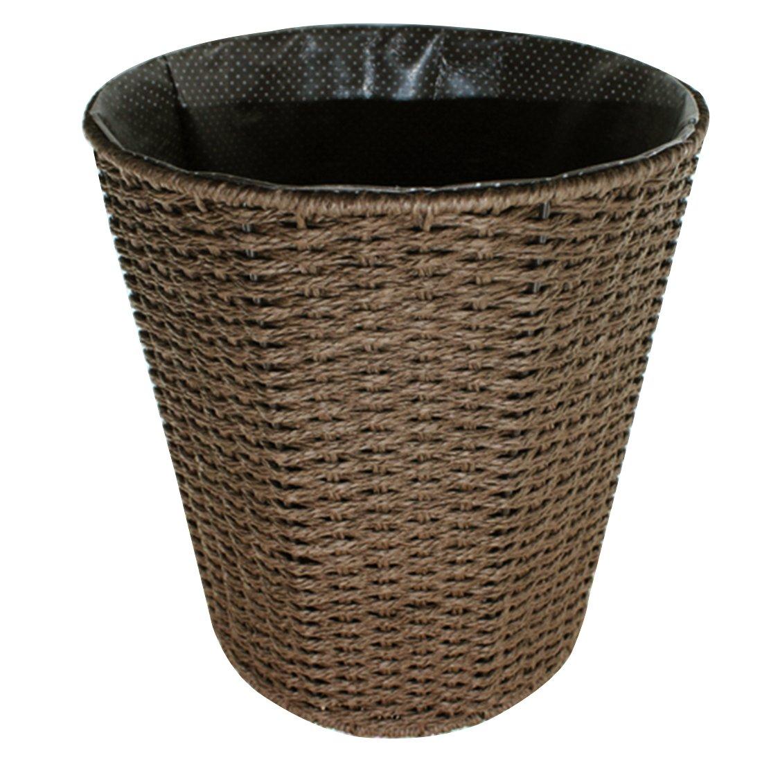 Paper Wastebasket Fcoson Rattan Woven Storage Baskets Decorative Round Trash can for Bedroom Desktop Coffee