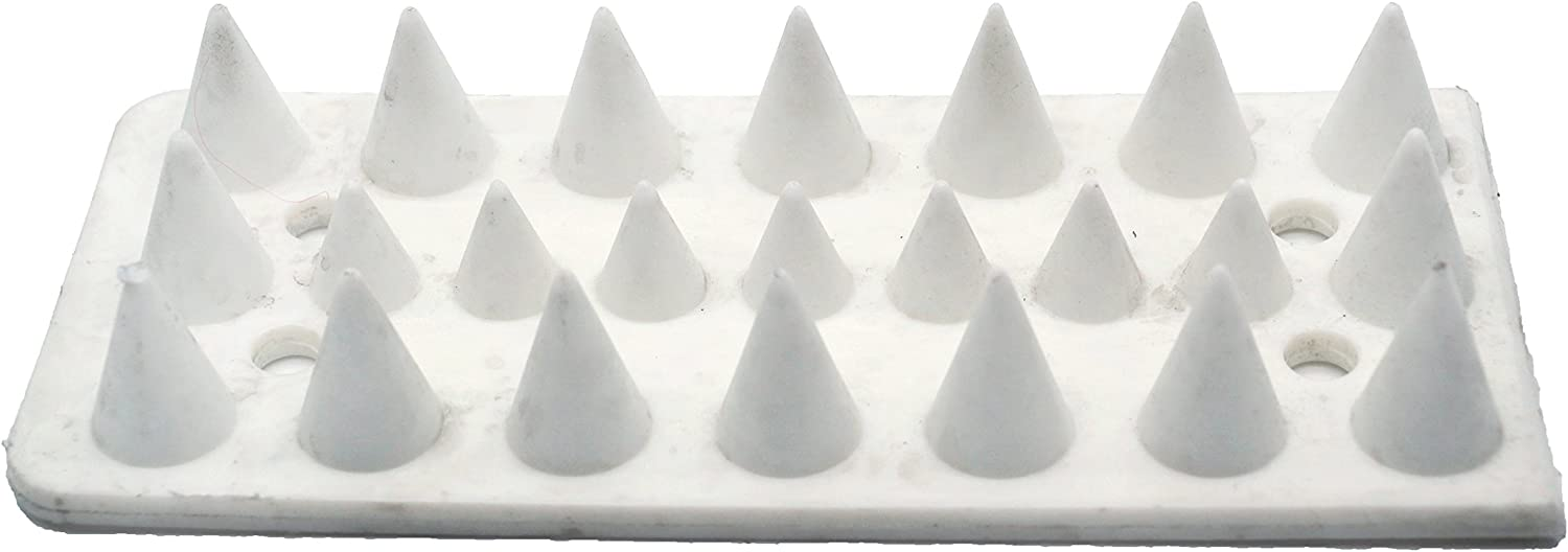 HERMAN Plastic Bird Spikes 10 Pk. Total Length 16.4 Feet - Defend Against Pigeons and Other Small Birds | Cats | Critters - Anti-Climbing Security for Fence | Walls | Roof - White