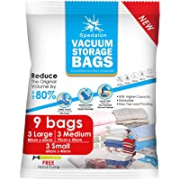 Spedalon Vacuum Storage Bags - Pack of 9 (3 Large + 3 Medium + 3 Small) ReUsable with free Hand Pump for travel packing | Best Sealer Bags for Clothes, Duvets, Bedding, Pillows, Blankets, Curtains
