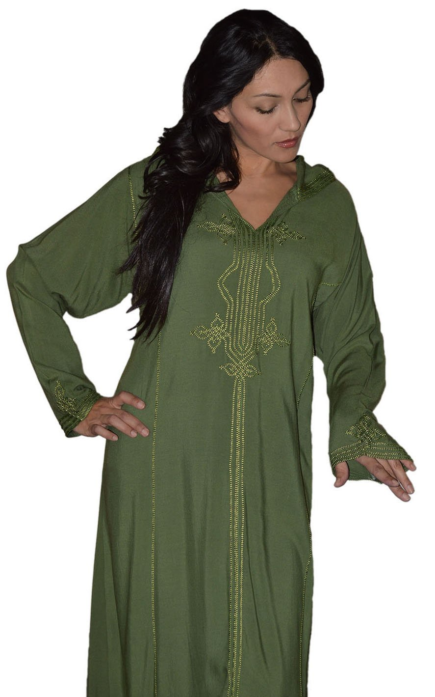 Moroccan Caftans Women Hand Made Djellaba Embroidered Size Extra Large Green by Moroccan Caftans (Image #2)