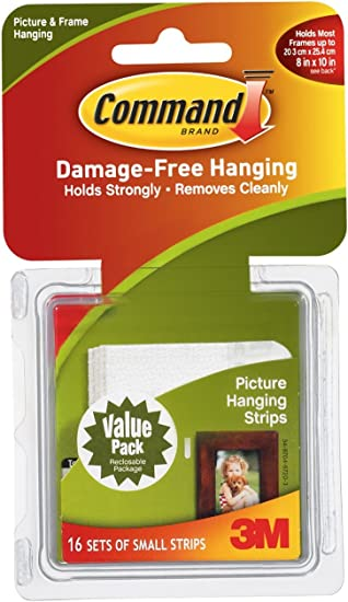 Command Picture Hanging Strips Value Pack, Small, White, 16-Sets (32 Strips)
