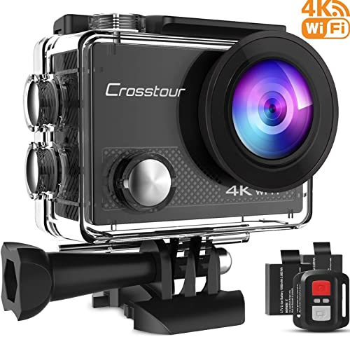 Crosstour Action Camera 4K 20MP WiFi Underwater 40M with Remote Control IP68 Waterproof Case