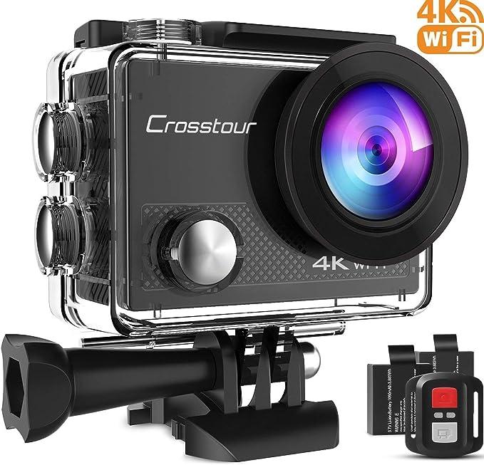 Crosstour Caméra Sport 4K 16MP Wi-Fi avec Télécommande Appareil Photo Caméscope Étanche 30M 170 °Grand-angle avec 2 pouces LCD 2 Batteries Rechargeables et Kits d'Accessoires pour Sports Extérieurs