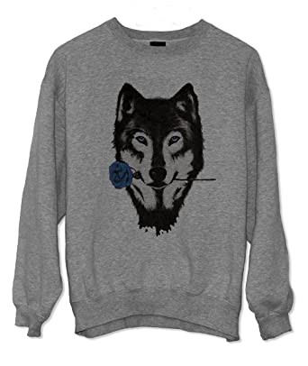 Wolf Rose Artwork Magic Romantic Gift Sweatshirt Grau Small