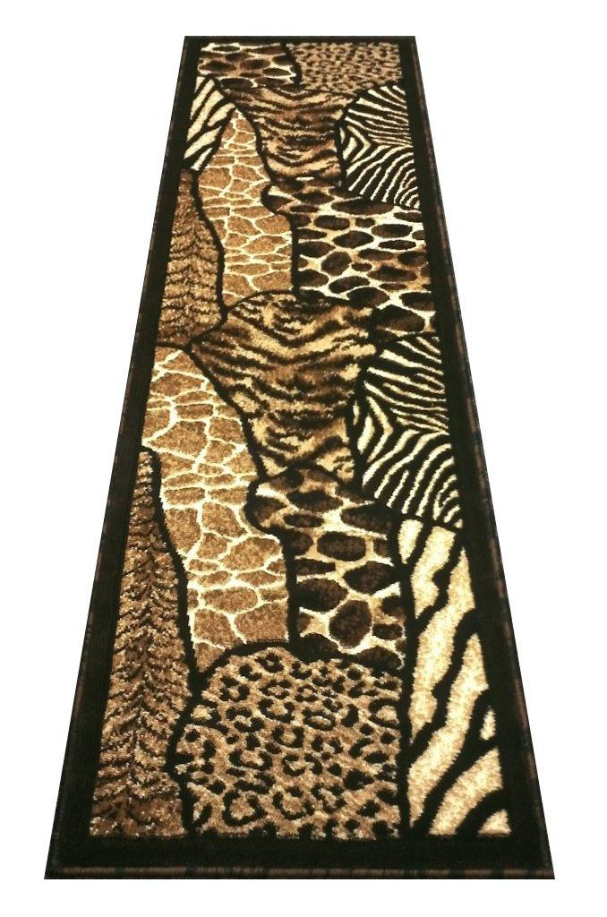 Animal Skin Print Runner Rug Leopard Tiger Black Skinz Design 70 (2 Feet X7 Feet)