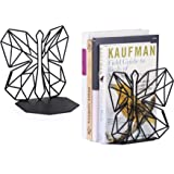 Alsonerbay Bookends Geometric Decorative Metal Book Stoppers Abstract Creative Book Supports Desktop Decor Butterfly…