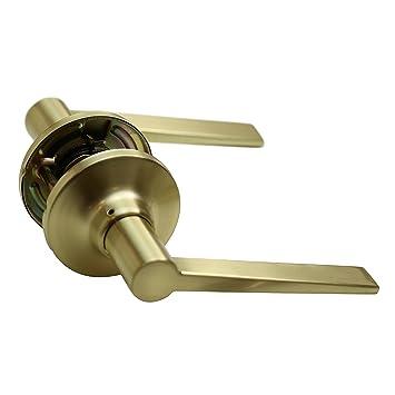 Essen Lockset - Satin Brass - Passage (Door Lever Knob Handle ...