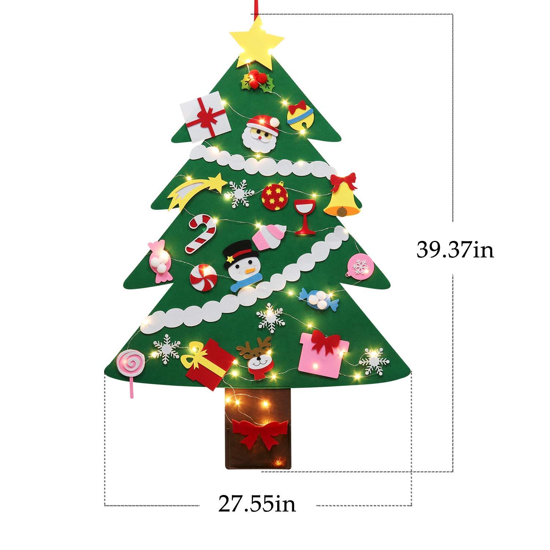 Albero di Natale in Feltro per Bambini con 50 LED 28 Albero Natale Feltro DIY Ornamenti Staccabili per la Decorazione della Parete del Portello dei Bambini Fascigirl Albero Natale Feltro
