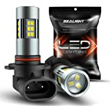 SEALIGHT H10/9145/9140/9045/9040 LED Fog Light Bulbs, 6000K Xenon White, 27 SMD Chips, 360-degree Illumination, Non-polarity,