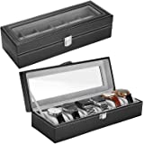 ProCase Watch Box, 6 Slots Leather Jewelry Storage Case Watch Display Box Organizer for Men -Black