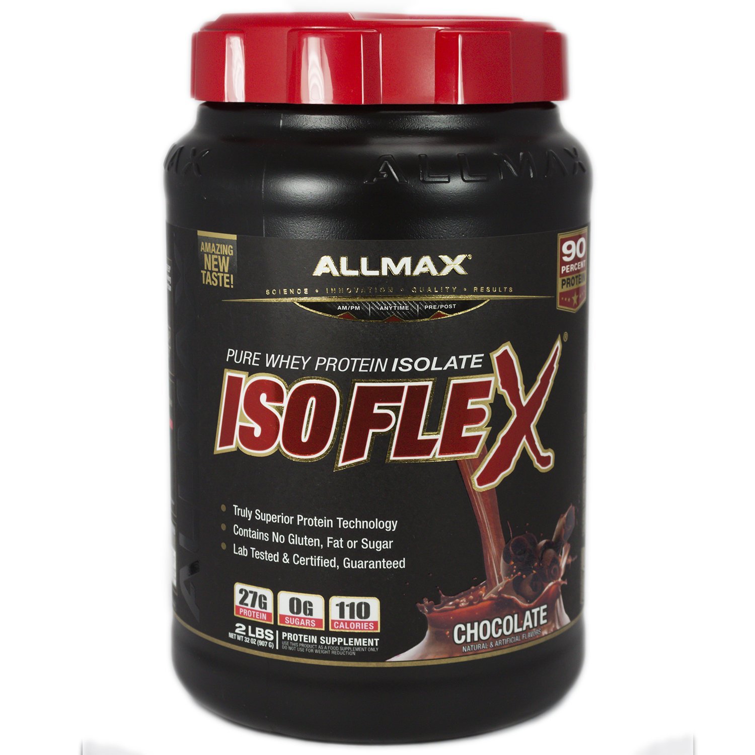 ALLMAX Nutrition Isoflex 100 Ultra-Pure Whey Protein Isolate WPI Ion-Charged Particle Filtration Chocolate 2 lbs 907 g