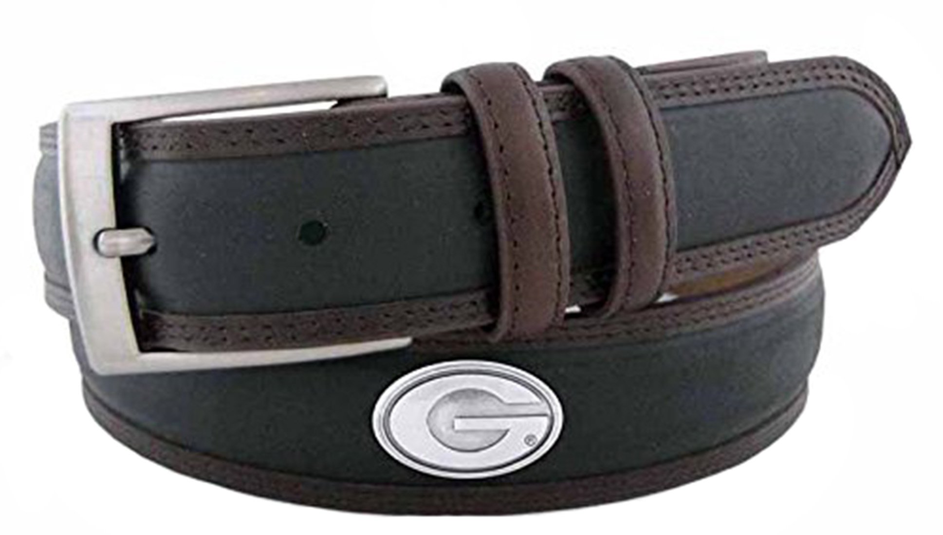 ZeppelinProducts UGA-BBLPS-BLK-34 Georgia Concho Two Tone Leather Belt, 34 Waist